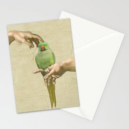 scritching a green indian ringneck #full Stationery Cards