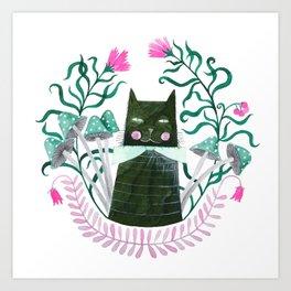 green cat watercolor illustration Art Print