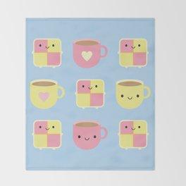 Kawaii Battenberg Cake & Cup of Tea Throw Blanket