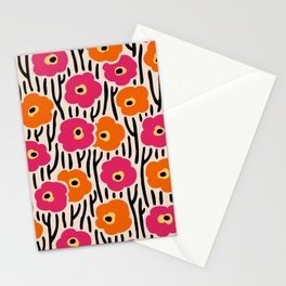 Mid Century Modern Wild Flowers Pattern Pink and Orange Stationery Cards