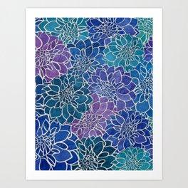 Dahlia Flower Pattern 5 Art Print