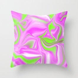 Neon Watermelon Trippy Tye Dye Throw Pillow
