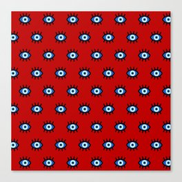 Evil Eye on Red Canvas Print