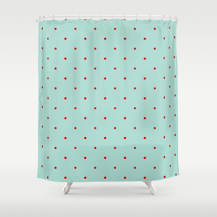 Blue with Red Dots Shower Curtain