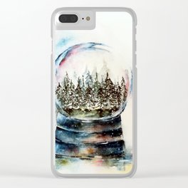 Snow globe - watercolour illustration Clear iPhone Case