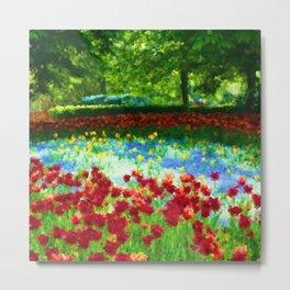 Colorful Impressionist Flower Field - II Metal Print