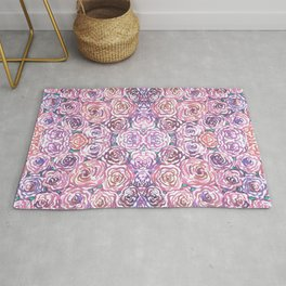 Purple and Pink Watercolor Roses Rug