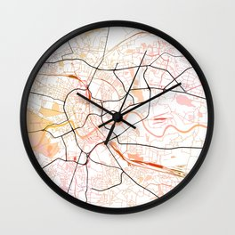 Krakow Poland Street Map Color Wall Clock