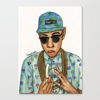 tyler the creator Canvas Prints featuring Tyler, The Creator by Daniel Cash