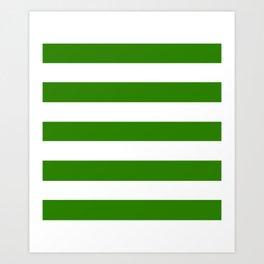 Napier green - solid color - white stripes pattern Art Print