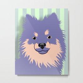 Olie the Pomeranian in Purple Metal Print