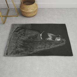 Raven Haired Beauty with the long dark hair black and white photograph Rug