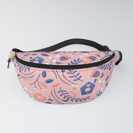 Cute Bird House and Flowers Fanny Pack