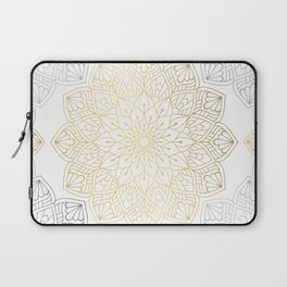 Gold Silver Mandala Pattern Illustration Laptop Sleeve