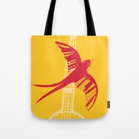 swallow Tote Bags featuring Swallow by Cai Sepulis