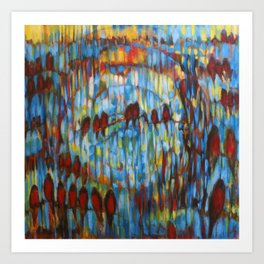 """Archer's Arrows"" a painting after the Crowded House song. Robins in the sky and music. Art Print"