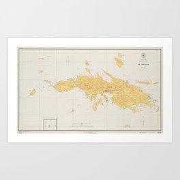Vintage Map of St Thomas (1922) Art Print
