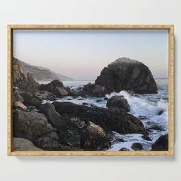 Crashing Waves at Dusk on a Big Sur Beach Serving Tray