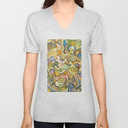 Abstract Maze of Green and Gold Unisex V-Neck