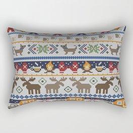 Fair Isle Happy Camper // Winter Wonderland with Woodland Animals Rectangular Pillow