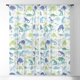 Watercolor Dinosaur Pattern White Green Blue Sheer Curtain