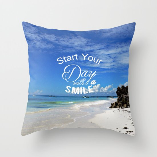 start your day with a smile throw pillow by mehrfarbeimleben society6. Black Bedroom Furniture Sets. Home Design Ideas