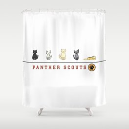 Five Cats All in a Row - Panther Scouts Characters Shower Curtain