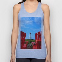 Lighthouse and chairs in Red White and Blue Unisex Tank Top