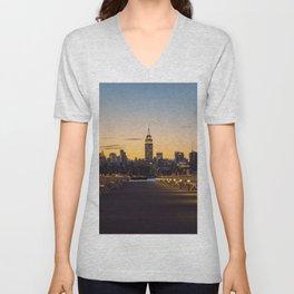 Sunset in New York City (Color) Unisex V-Neck