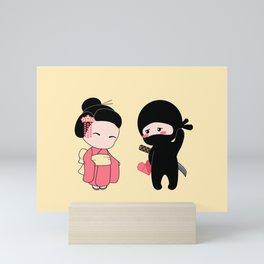 Tiny Ninja and Geisha Mini Art Print
