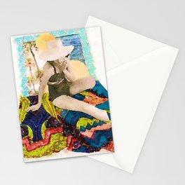 Sun Hat Lady 3 Stationery Cards