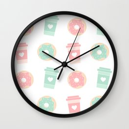 cute colorful donuts and coffee pattern background illustration Wall Clock