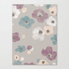 Watercolor Blooms - in Taupe Canvas Print
