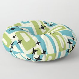 Retro Mid Century Modern Abstract Pattern 225 Blue and Green Floor Pillow
