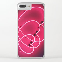 Neon Hearts Clear iPhone Case