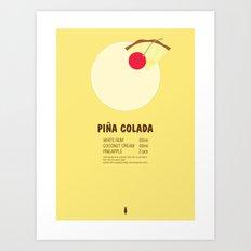 Pina Colada Cocktail Recipe Poster (Metric) Art Print