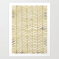 metallic Art Prints featuring Gold Herringbone by Cat Coquillette