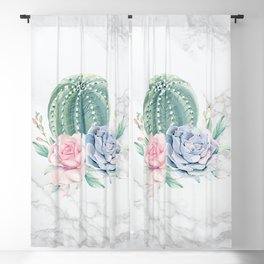 Cactus Rose Succulents on Marble Watercolor by Nature Magick Blackout Curtain