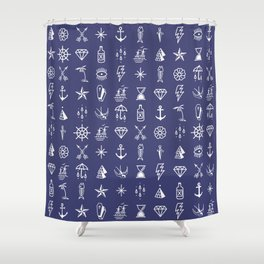 Uncle Knuckles - White on Navy Shower Curtain