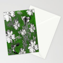 Birds Green Gray White Toile Stationery Cards