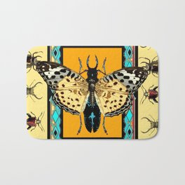 BUTTERFLY WESTERN YELLOW-ORANGE-TURQUOISE INSECT  PATTERNS Bath Mat