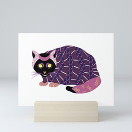 Abstract Black Cat Mini Art Print