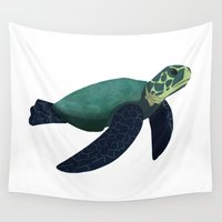 turtle Wall Tapestries featuring Turtle by Imaginative Ink