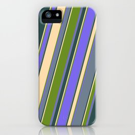 Tan, Green, Medium Slate Blue, Slate Gray, and Dark Slate Gray Colored Lined/Striped Pattern iPhone Case