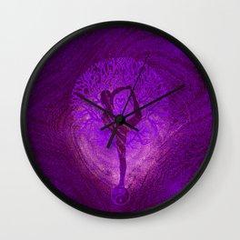 Yoga Tree in Purple  Wall Clock