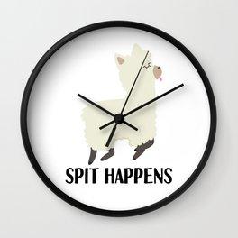 LLama Alpaca spitting pun Shit joke gift Wall Clock