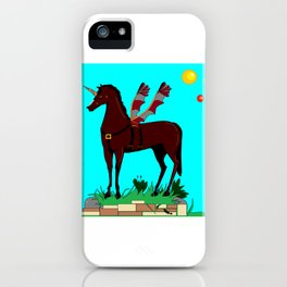 A Mechanical Horned Pegasus and two suns iPhone Case
