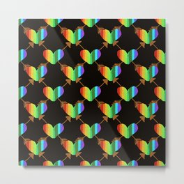 Rainbow Hearts with crossed arrows on Black Metal Print