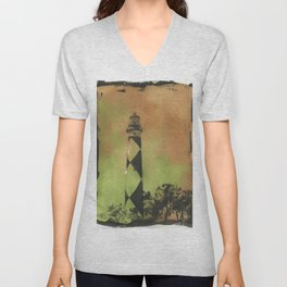 Cape Lookout lighthouse on the Outer Banks, North Carolina.  Watercolor painting of Cape Lookout lighthouse beach artwork home decor lighthouse NC lighthouse painting watercolor Unisex V-Neck