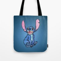 lilo and stitch Tote Bags featuring Stitch by DROIDMONKEY
